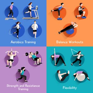 42623961 - fitness aerobic strength and body shaping exercises 4 flat icons square composition banner abstract isolated vector illustration
